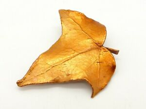 Real Leaf Brooch Copper Plated Handmade Metal Nature Leaves Autumn