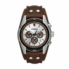 Fossil Quartz (Automatic) Genuine Leather Strap Wristwatches