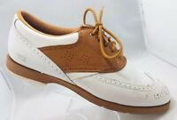 Footjoy TCX White / Brown Leather Wingtip Lace Up Spikeless Golf Shoes Womens 9