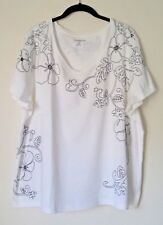 NWT CROFT & BARROW Womens Embroidered Cotton Knit Top 2X White w/Black Stitching