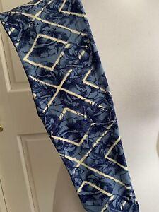 LuLaRoe Leggings OS Slate Navy Blue Roses Flowers Cream Diamond Trellis VINTAGE