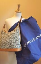Pre-Owned Dooney & Bourke Canvas & Leather Hobo Shoulder Bag- Bubble Logo Print