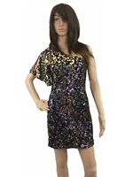 As U Wish Womens Dress Textured Fit and Flare Sequined Shiny One Shoulder Medium