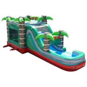 Mega Tropical Marble Commercial Inflatable Bounce House Water Slide With Blower