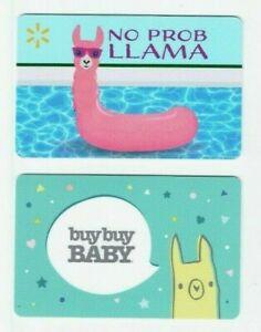 Llama Gift Card LOT of 2 - Walmart No Prob LLAMA & Buy Buy Baby - No Value