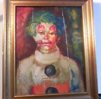 CIRCUS CLOWN OIL PAINTING ON CANVAS VINTAGE 8 X 10 VINTAGE