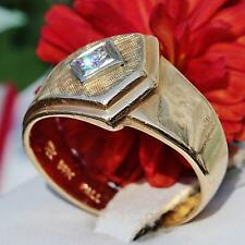 1920's Antique handmade 14k yellow gold 0.20ct diamond size 9 band ring 6.2gr