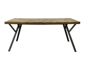 Adria Parquet Style Solid Acacia Wood Luxury Industrial Dining Table Grey Legs