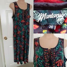 MANTARAY Size 20 Cotton Jersey Tropical Print Sleeveless Maxi Dress Stretch