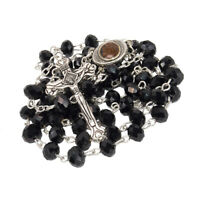 """Rosary Beads with INRI Black Crystal Beaded from Jerusalem the Holy Land 20.4"""""""