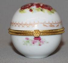 Vintage European Hand Made Porcelain Floral Globe Small Box