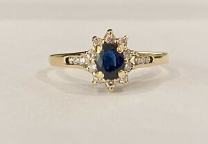 Effy BH 14K Yellow Gold Sapphire and Diamond Ring Size 8.25