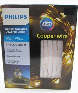 Dewdrop Fairy Lights Copper Wire 9.6' Timer Holidays 30 Lights Battery Operated
