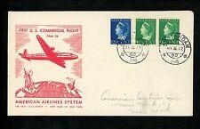 Postal History Netherlands #219+225(2) Flight FAM #5 Amsterdam New York NY 1946