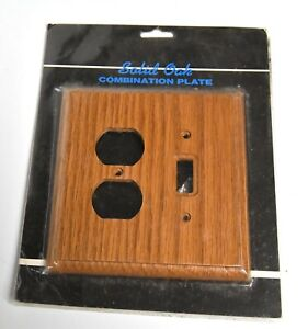 NOS RED OAK WOOD SWITCH PLATE OUTLET COVER
