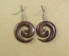 ein Paar Ohrringe Naturmaterialien Spirale Holz dunkelbraun Hippie Ethno NEU