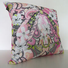 Pink Cushion Pillow | Hibiscus Paisley Pattern | Eco-canvas | by Paisley Power