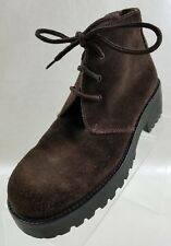 Calvin Klein Ankle Boots Womens Block Heel Lace Up Brown Suede Shoes Size 7M