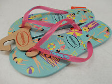 HAVAIANAS WOMENS SANDALS SLIM COOL ICE BLUE SHOCKING PINK SIZE 9/10