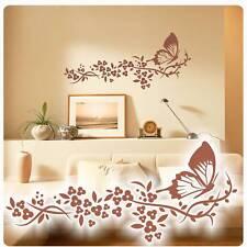 Schmetterlinge Blumen Ranke Wandtattoo Wandaufkleber Lounge Kaffee WC Bad W177
