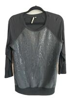 Calvin Klein Size S Women's Blouse in Black Front Sequins Long Sleeve