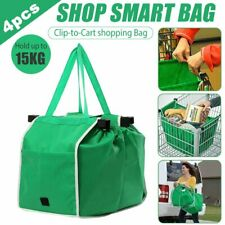 4PCS Foldable Reusable Shopping Grab Bags Eco Handle Grocery Cart Trolley Travel