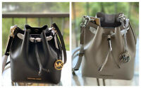 Michael Kors Medium Crossbody Shoulder Bucket Bag Handbag Blue Grey Leather MK