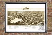 Vintage Lake City, FL Map 1885 - Historic Florida Art - Old Victorian Industrial