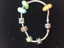 Authentic Pandora Silver Bracelet With 8 Charms 925 ALE