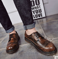Brogue Men Leather Lace Up Ankle Boots Low Heel Flat Shoes British Style D354 sz