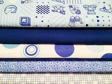 Fat Quarters Bundles Nursery Fabric Craft Bunting BABY BOY Blue Gingham Spots