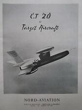 8/1958 PUB NORD AVIATION ENGIN CIBLE CT.20 TARGET AIRCRAFT DRONE ORIGINAL AD