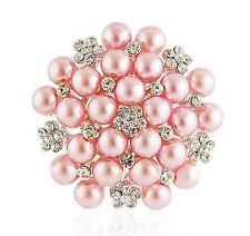 Elegant Bridal Corsage Silver & Pink Pearls &  Rhinestones Brooch Pin BR118
