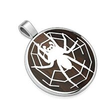 Stainless Steel Pendant. Spider with Web P132
