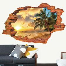 Wandtattoo Wandaufkleber 3D Fenster Strand Sonne Wohnzimmer Schlafzimmer Heiß
