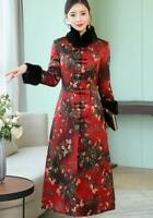 Womens Winter Thicken Cheongsam Dress   Flower Print Coat Jacket Long  LHM15