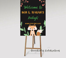Printable Custom Woodland Welcome Sign Baby Shower Party Fox Animals Baby-Q