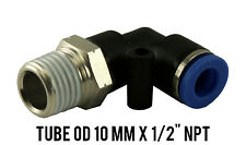 "1 Lot of 10 Male Swivel Elbow Pneumatic Push In Fitting OD 10 mm x 1/2"" NPT"