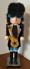 "Rocker Nutcracker Rock N Roll Guitar Wooden 15"" Christmas Holiday Decorative NEW"