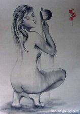 Orig Nude girl ha noi vietnam ink on rice paper Minh Ngoc & Painters..