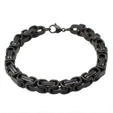 "Stainless Steel 8.5"" Byzantine  Black Rhodium Plated Men's Bracelet"