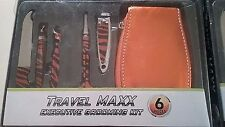 Travel Maxx 6 Stück Executive Grooming Kit, kompakte tragbare, Case, orange