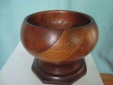 """VINTAGE Legno Piedistallo Bowl """"treen in legno in sezione"""