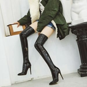 5 Colors Women's Over The Knee Thigh High Heel Pointy Toe Boots Nightclub Sexy L