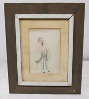 Antique Chinese Watercolor Painting Scholar Framed Mid Century