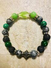 Chakra Balance Natural Stone Green Alien 👽 Bracelet