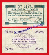 Billete local CÚLLAR-BAZA 25 Centimos 1937 SC /  UNC