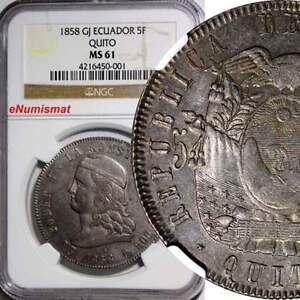 ECUADOR Silver 1858-GJ Quito Mint 5 Francos NGC MS61 Nice Toned VERY RARE KM# 39