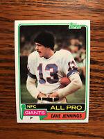 1981 Topps #110 Dave Jennings Football Card New York NY Giants All Pro NFL Raw