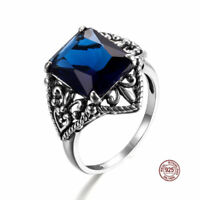 925 Sterling Silver Rings Sapphire Crystal Antique Ring Jewelry Women Men Blue